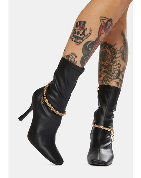 Black Sacci Chain Faux Leather Boots