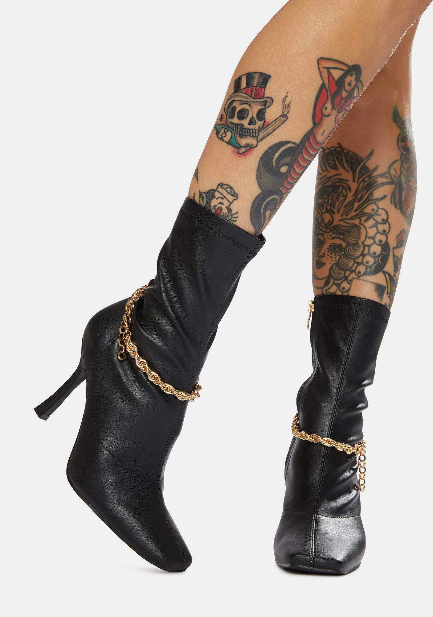 Public Desire Black Sacci Chain Faux Leather Boots