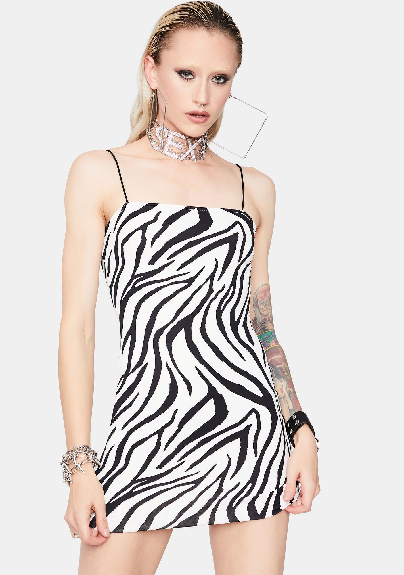 Wild Calling Zebra Bodycon Dress
