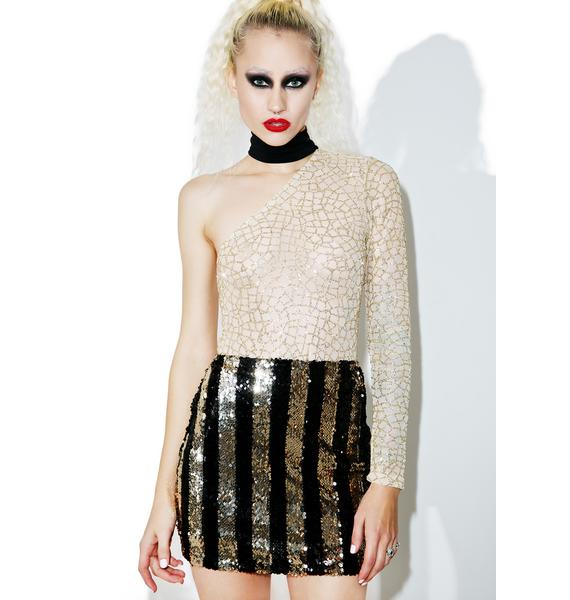 Motel Stripe Nights Sequin Tube Skirt