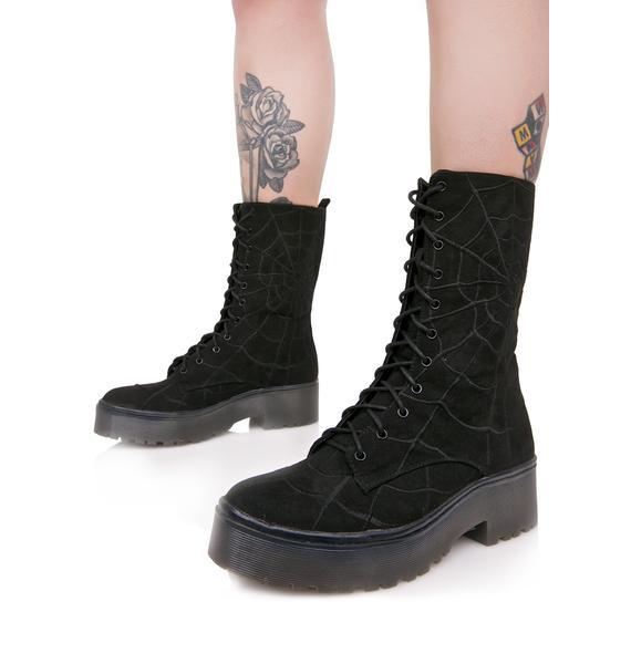Iron Fist Noir Walking In My Web Heavy Sole Boots