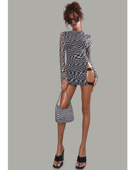 Warped Realm Checkered Mesh Mini Dress