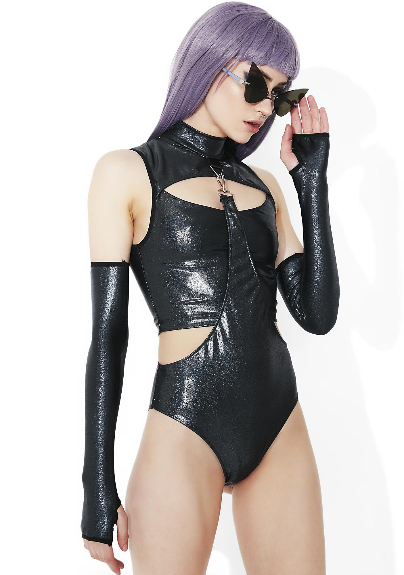 Club Exx Shadow Trance Gauntlet Bodysuit