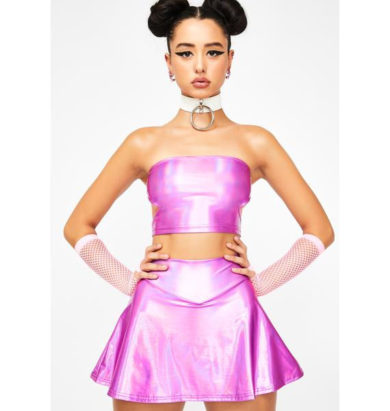Club Exx Fairy Type Holographic Tube Top