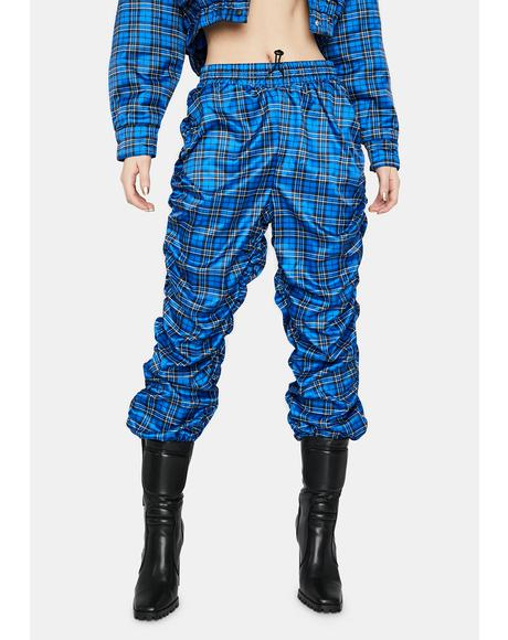 Babe Revolution Ruched Plaid Joggers
