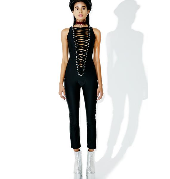 J Valentine Lace-Up Catsuit