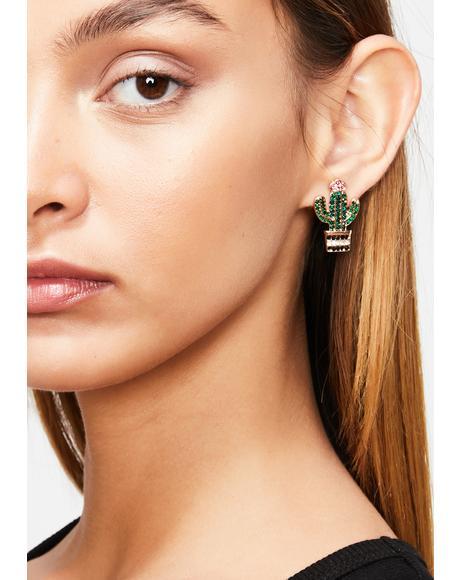 Pricked Ya Cactus Earrings