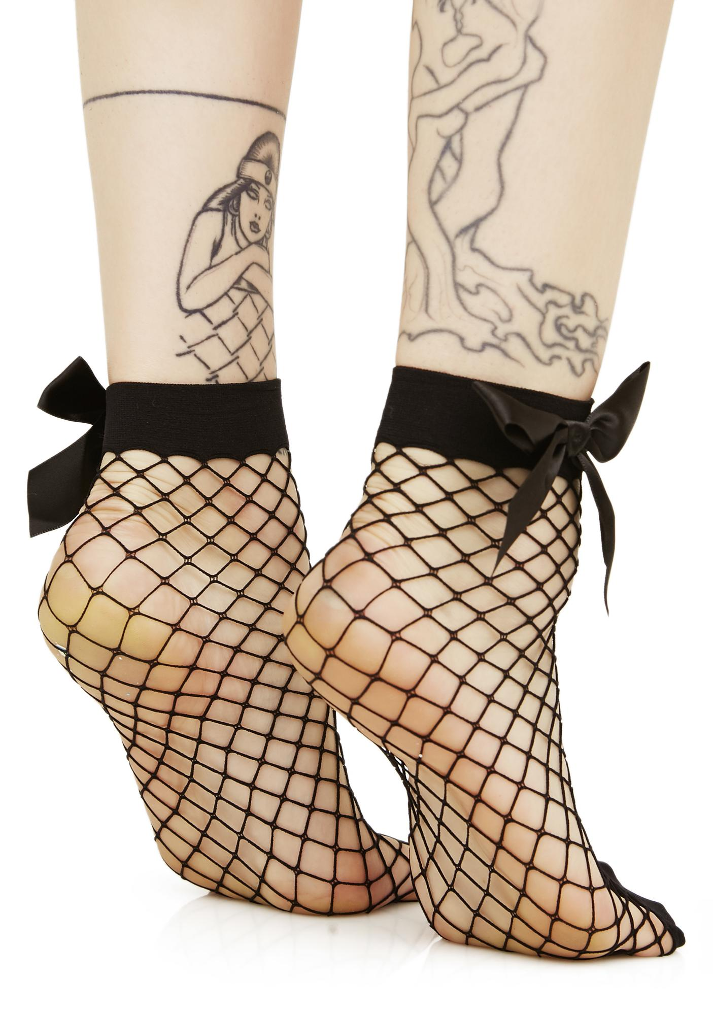All About Addams Fishnet Bow Socks