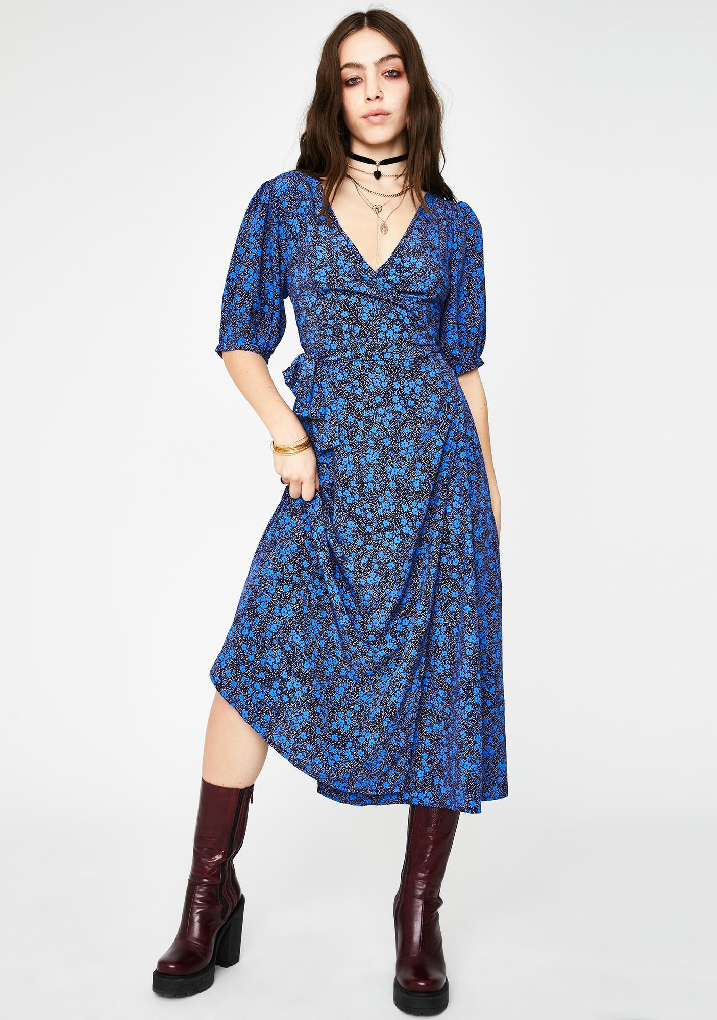 Glamorous Blue Ditsy Floral Midi Dress
