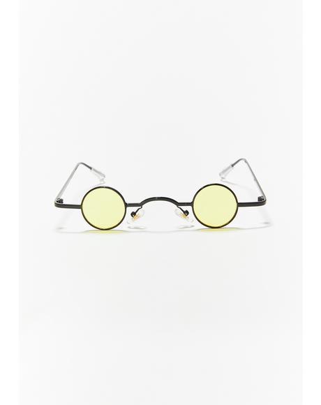 Caution Shade Alert Tiny Circle Sunglasses