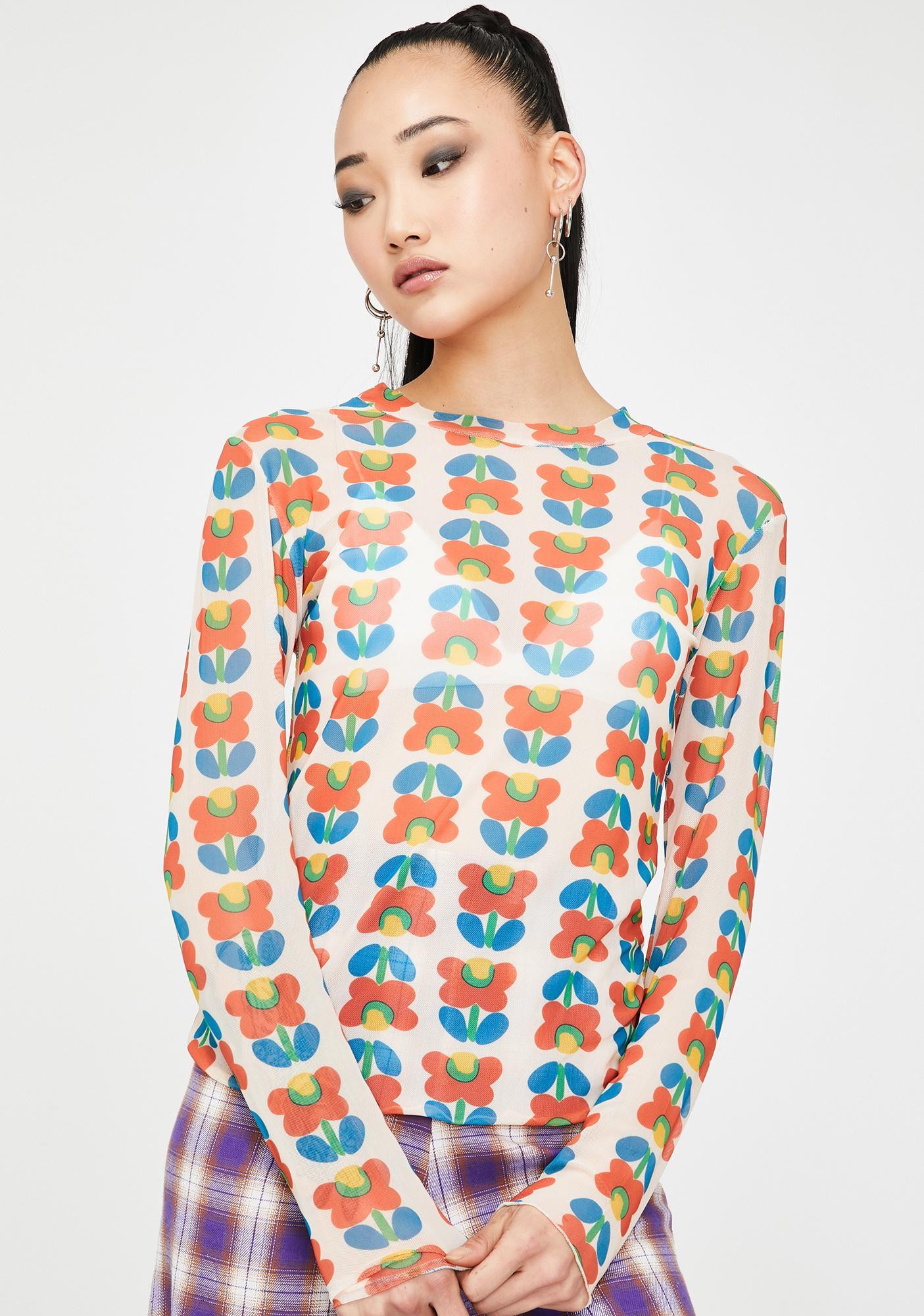 Alzang Flower Print Long Sleeve Mesh Top