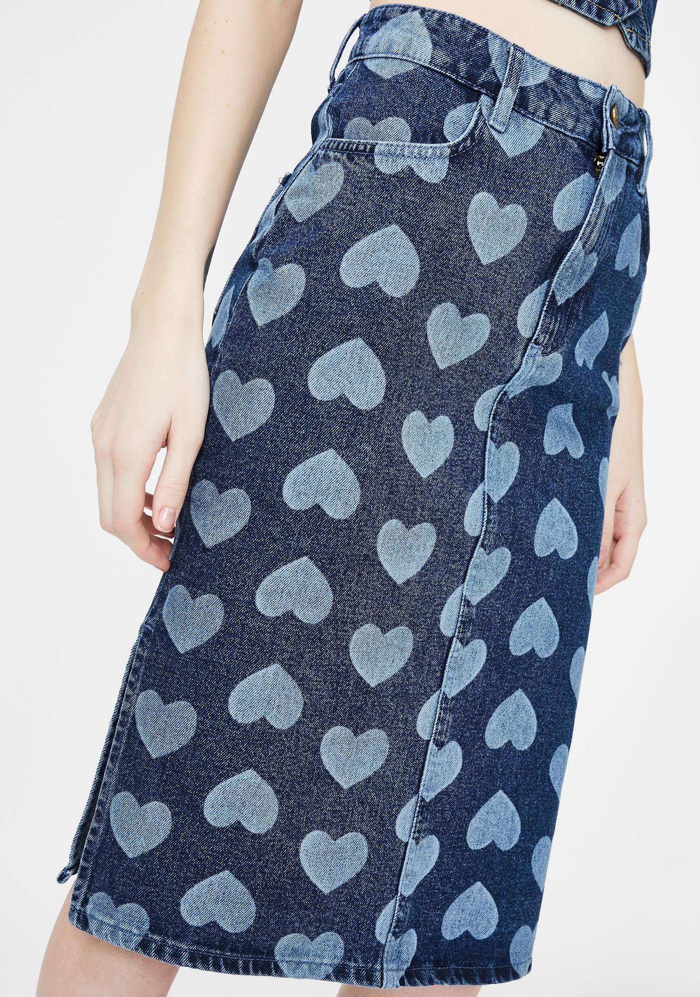 Lazy Oaf Cyber Love Denim Skirt
