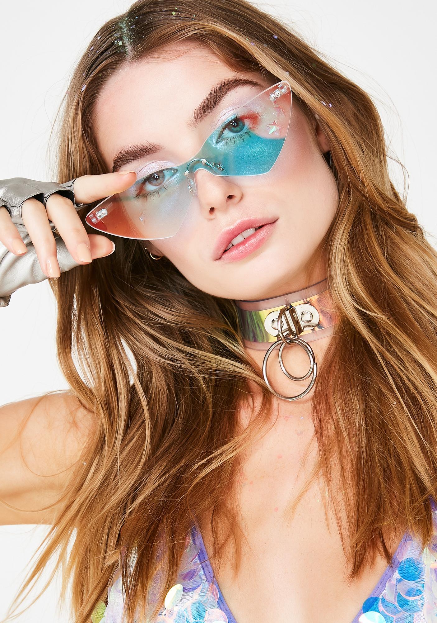 Animal Hair Iridescent Cat Eye Sunglasses
