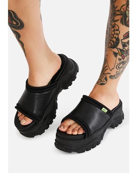 Black GLDR OT Platform Sandals