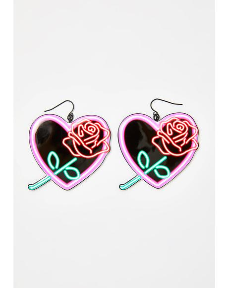 Neon Love Heart Earrings
