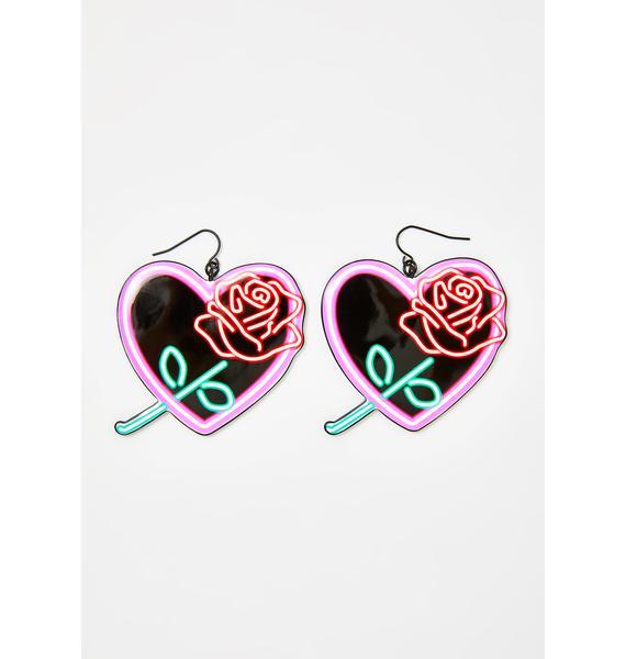 Neon Love Heart Earrings