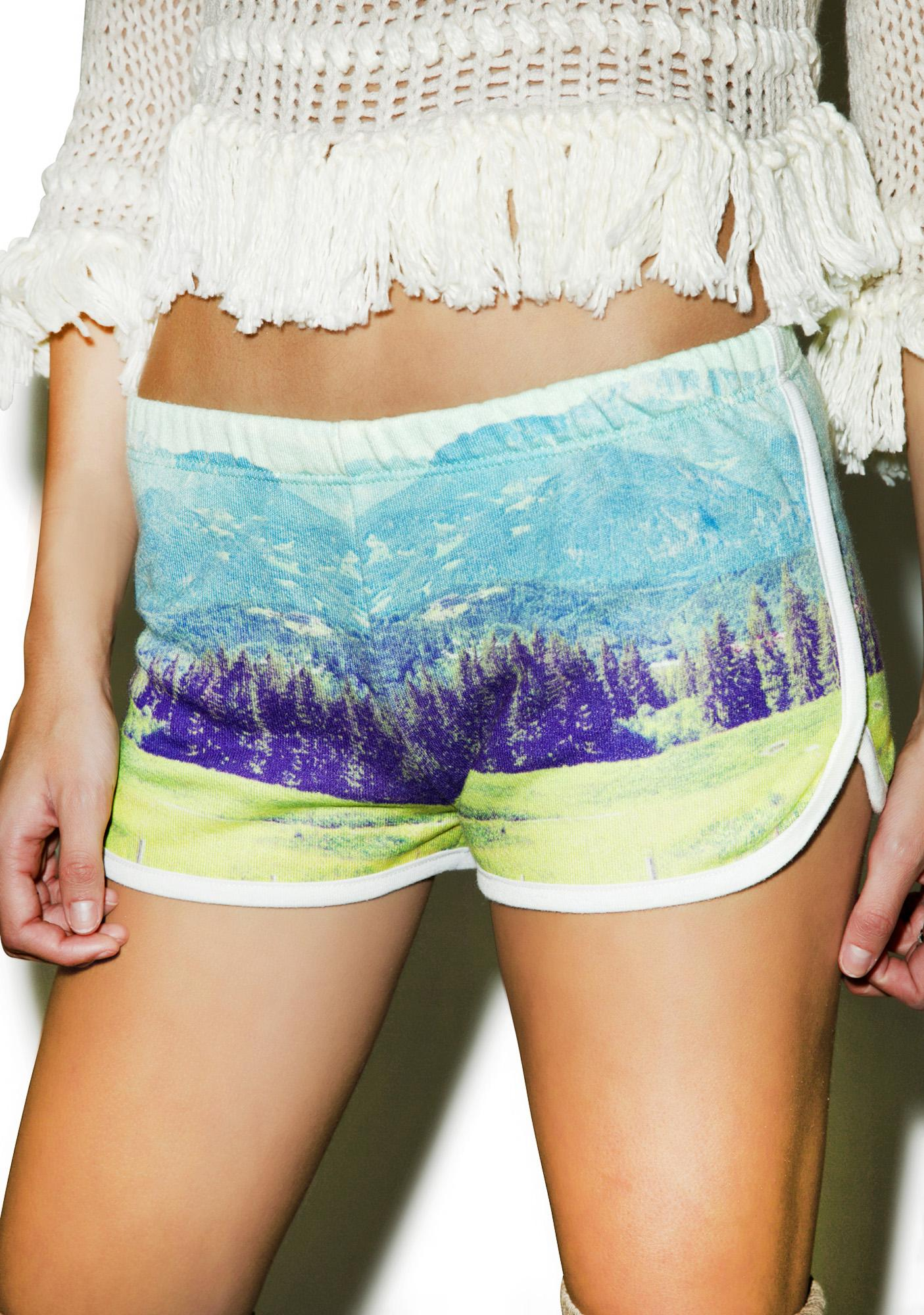 All Things Fabulous Green Field Track Shorts