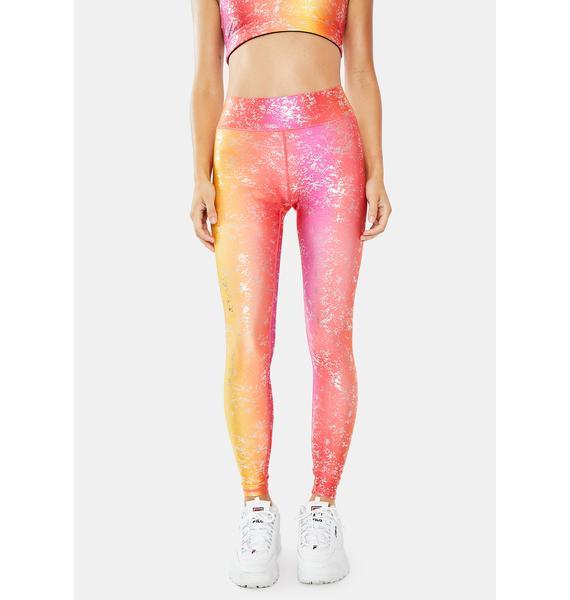 Terez Pink Printed Foil Leggings