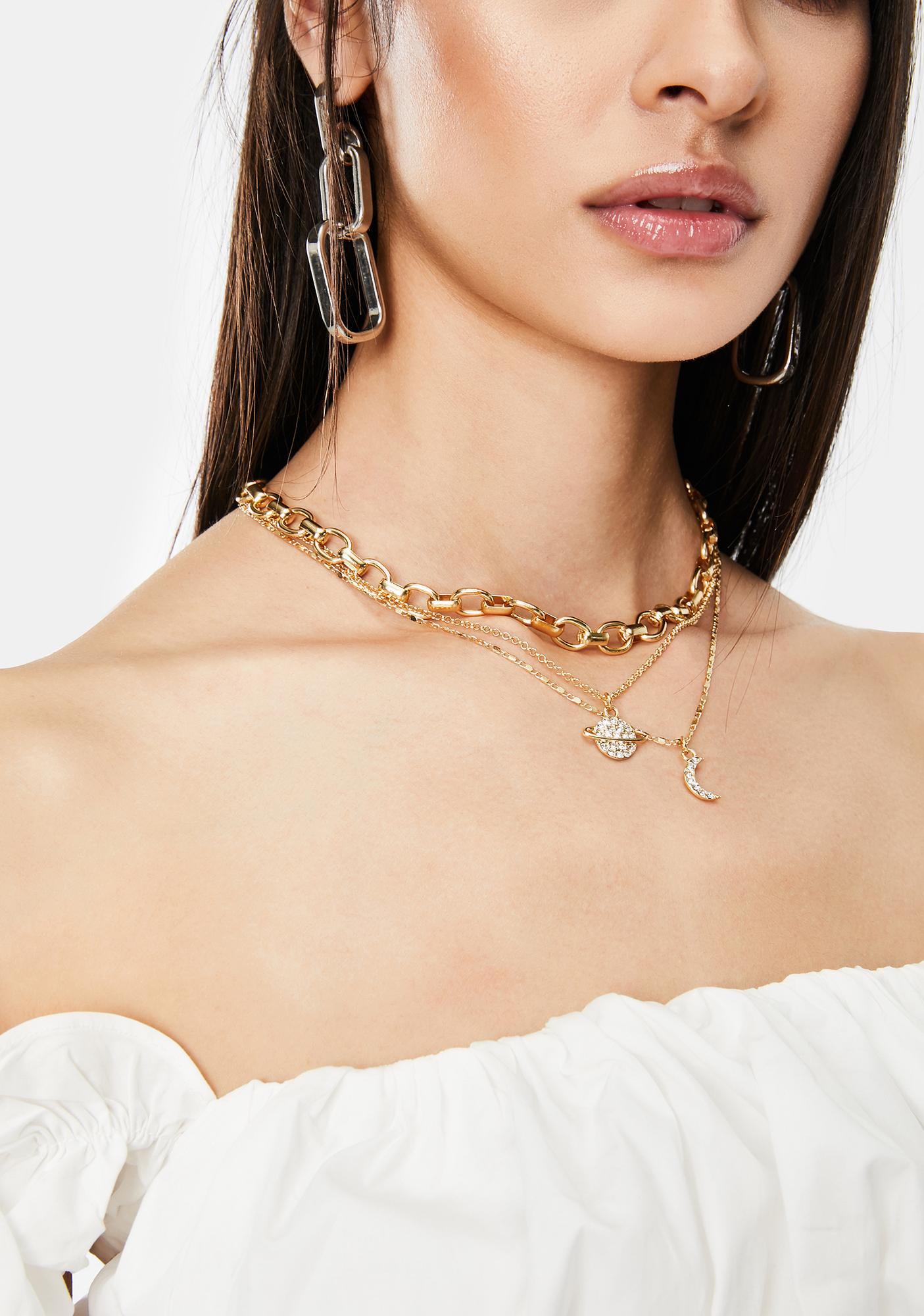 In Your Orbit Layered Chain Necklace