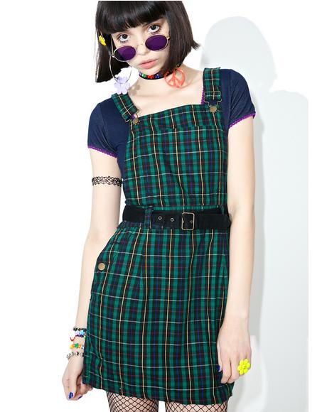 Vintage 90s Green Plaid Overall Dress