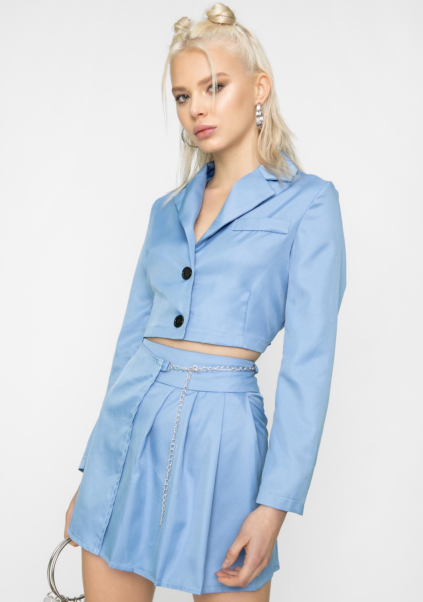 ZEMETA True Sky Chain Blazer Skirt Set