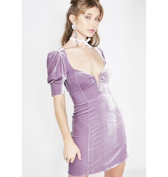 For Love & Lemons Lilac Viva Deep V Mini Dress