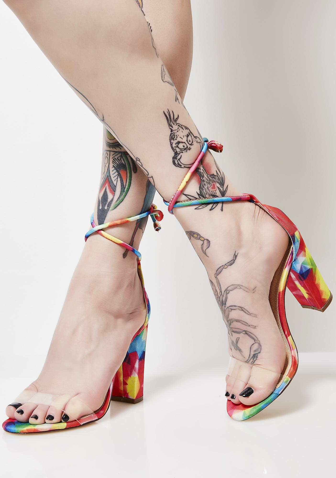Touch My Rainbow Ankle Strap Heels