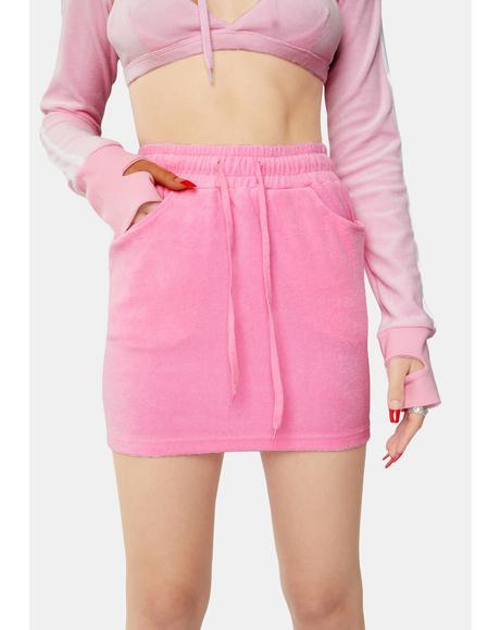 Pink Halfstud Lowrise Velour Skirt
