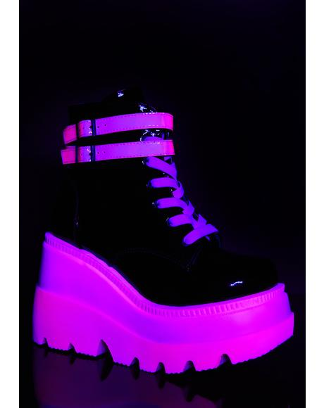Pink UV Patent Technopagan Boots