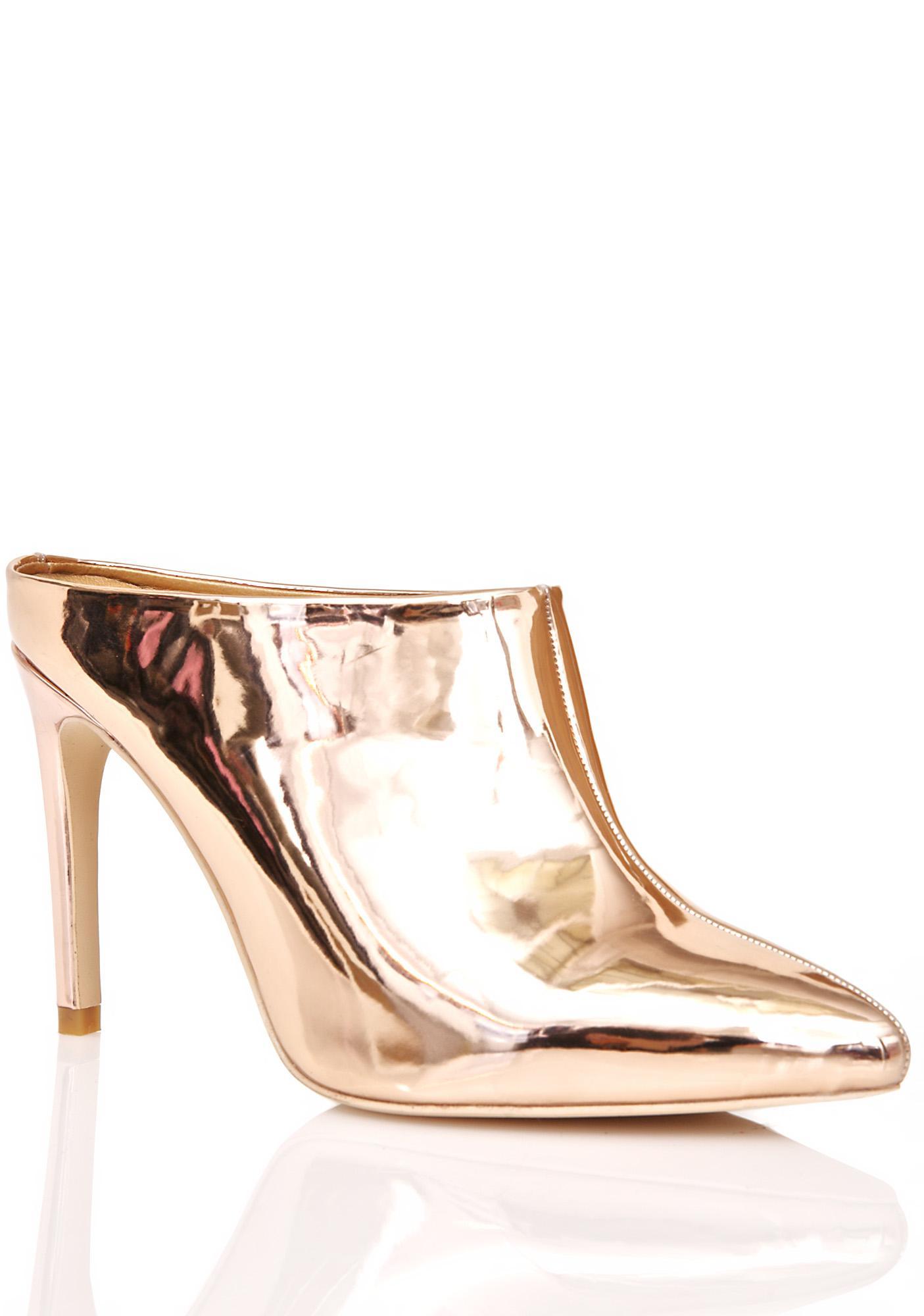 Gilded Glare Metallic Mules