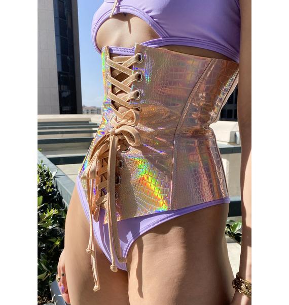 J Valentine Holographic Faux Leather Waist Cincher