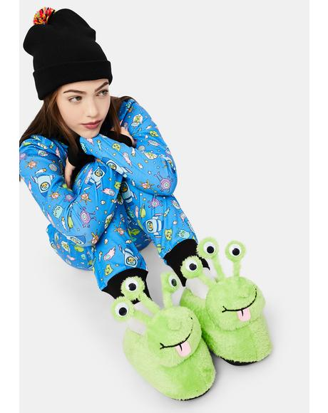 Freakin' Frosty Alien Slippers