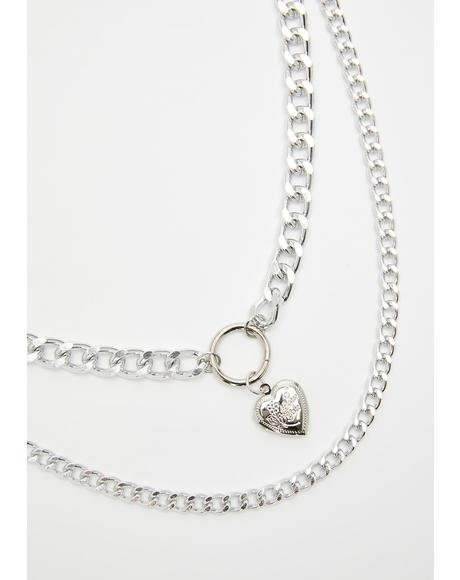 Heart On Lockdown Chain Necklace