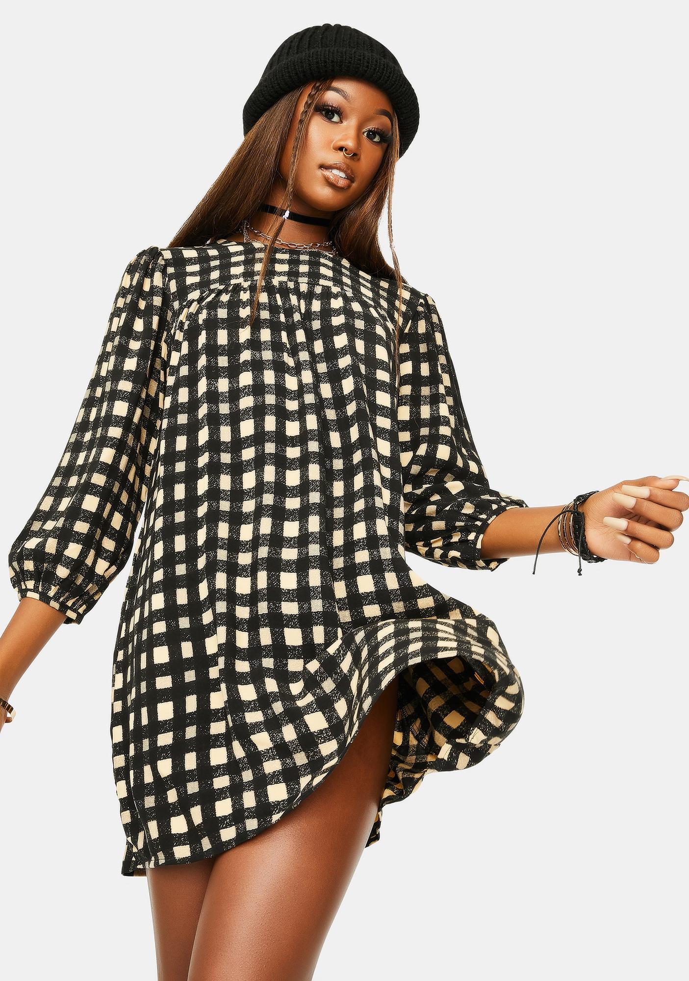 Motel Isha Check Mini Dress