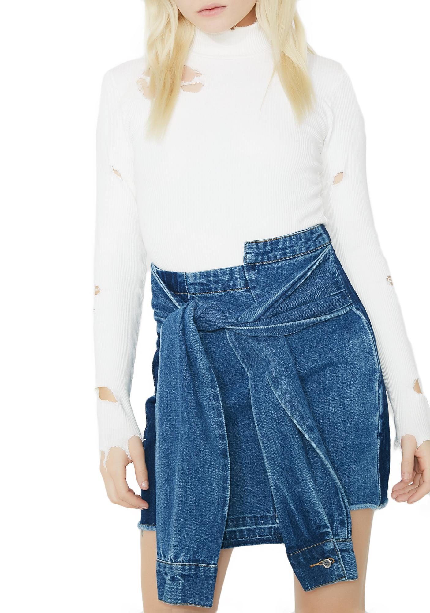 Not Trippin' Denim Skirt