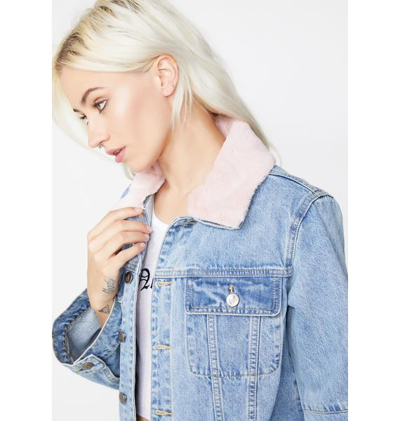 Mink Pink Chloe Crop Denim Jacket