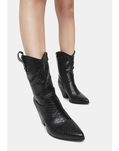 Noir Ring the Bells Cowboy Boots
