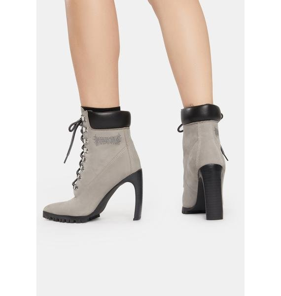 DARKER WAVS Snare Suede Pointed Toe Heeled Work Boots