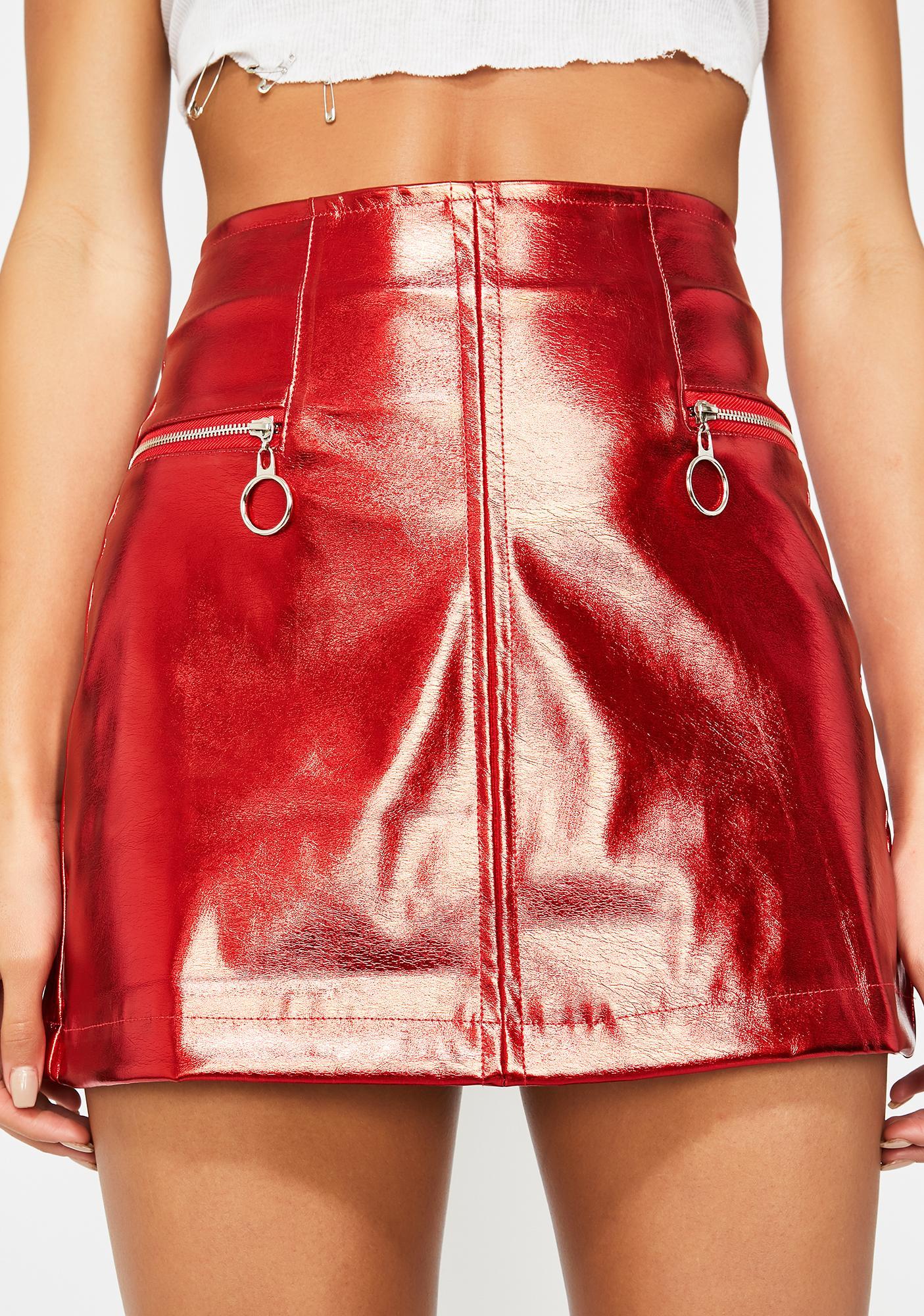 0398339cfa Red Metallic Zip Up Mini Skirt | Dolls Kill