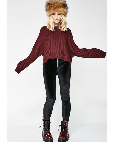 Bordeaux Nights Knit Sweater