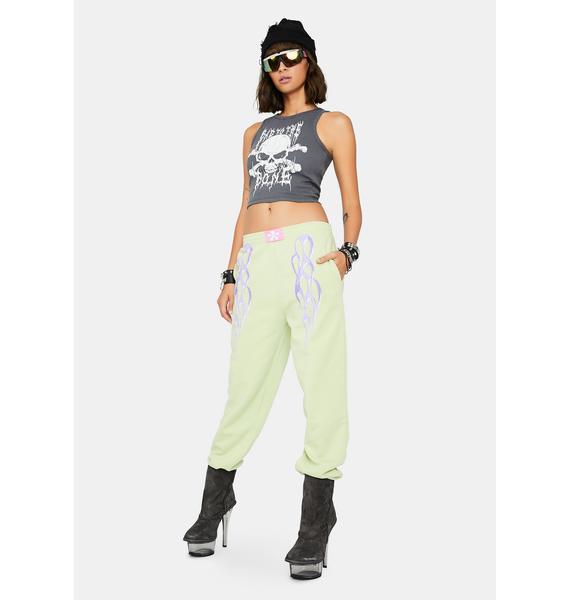 NEW GIRL ORDER Metallic Flame Jogger Sweatpants