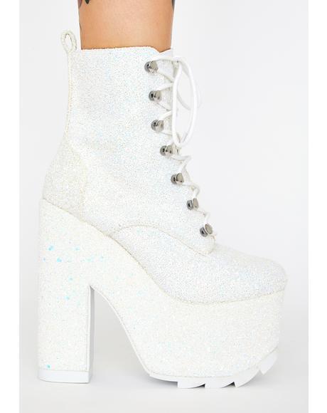 White Glitter Night Terror Platform Boots