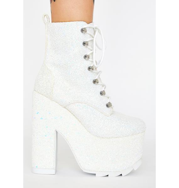 Y.R.U. White Glitter Night Terror Platform Boots