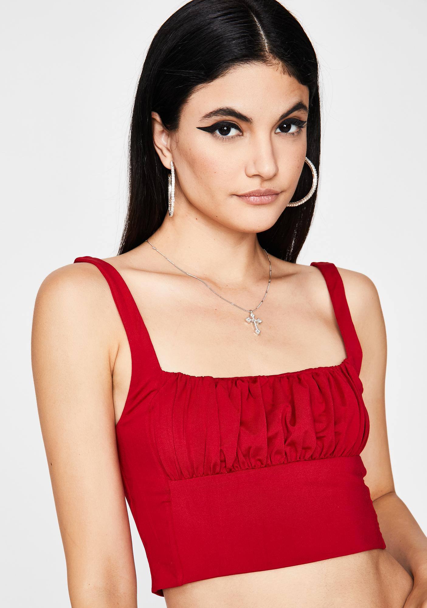 Fire Posh Romance Ruched Top