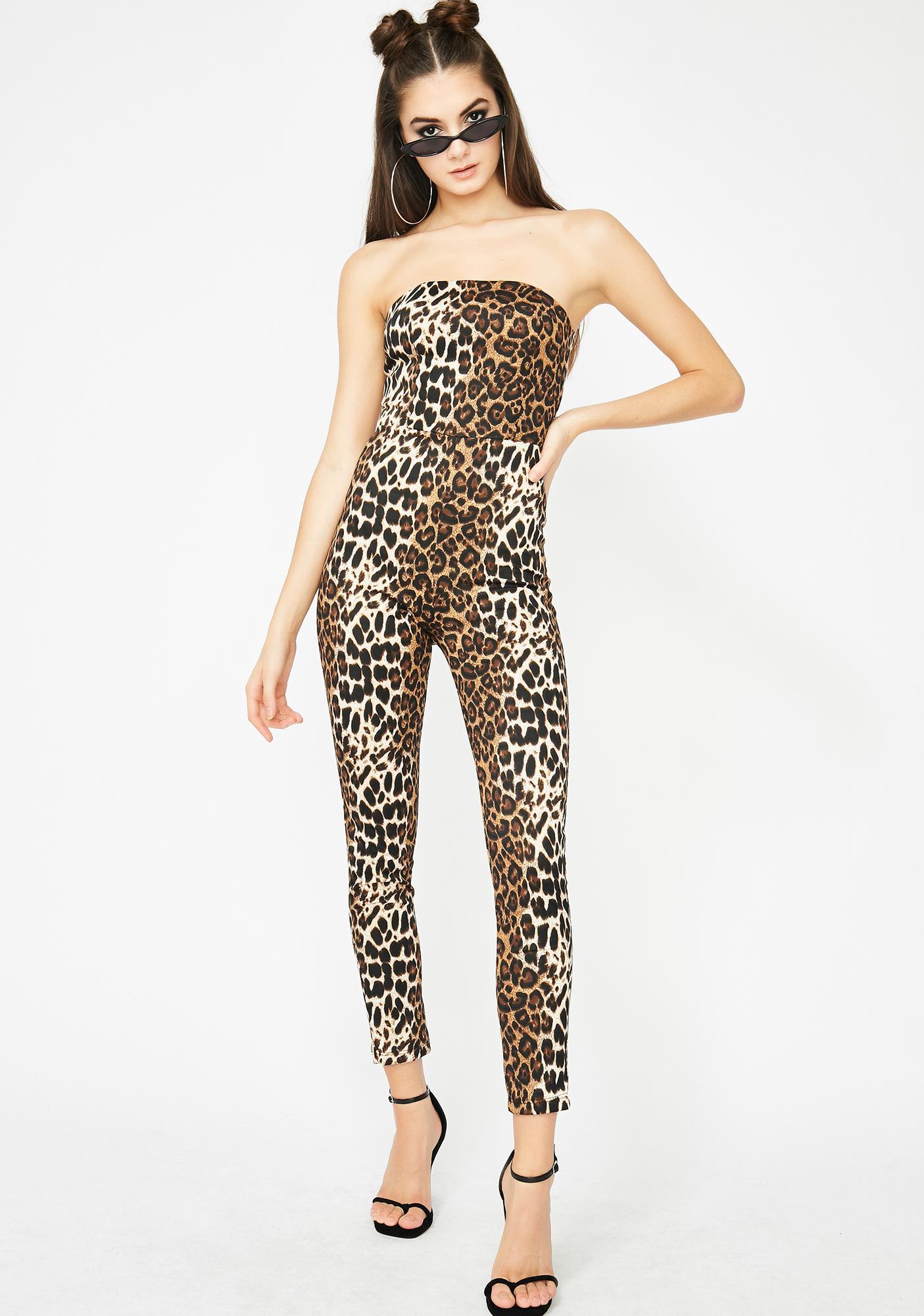 90e6ec916477 Leopard Strapless Lace Up Jumpsuit