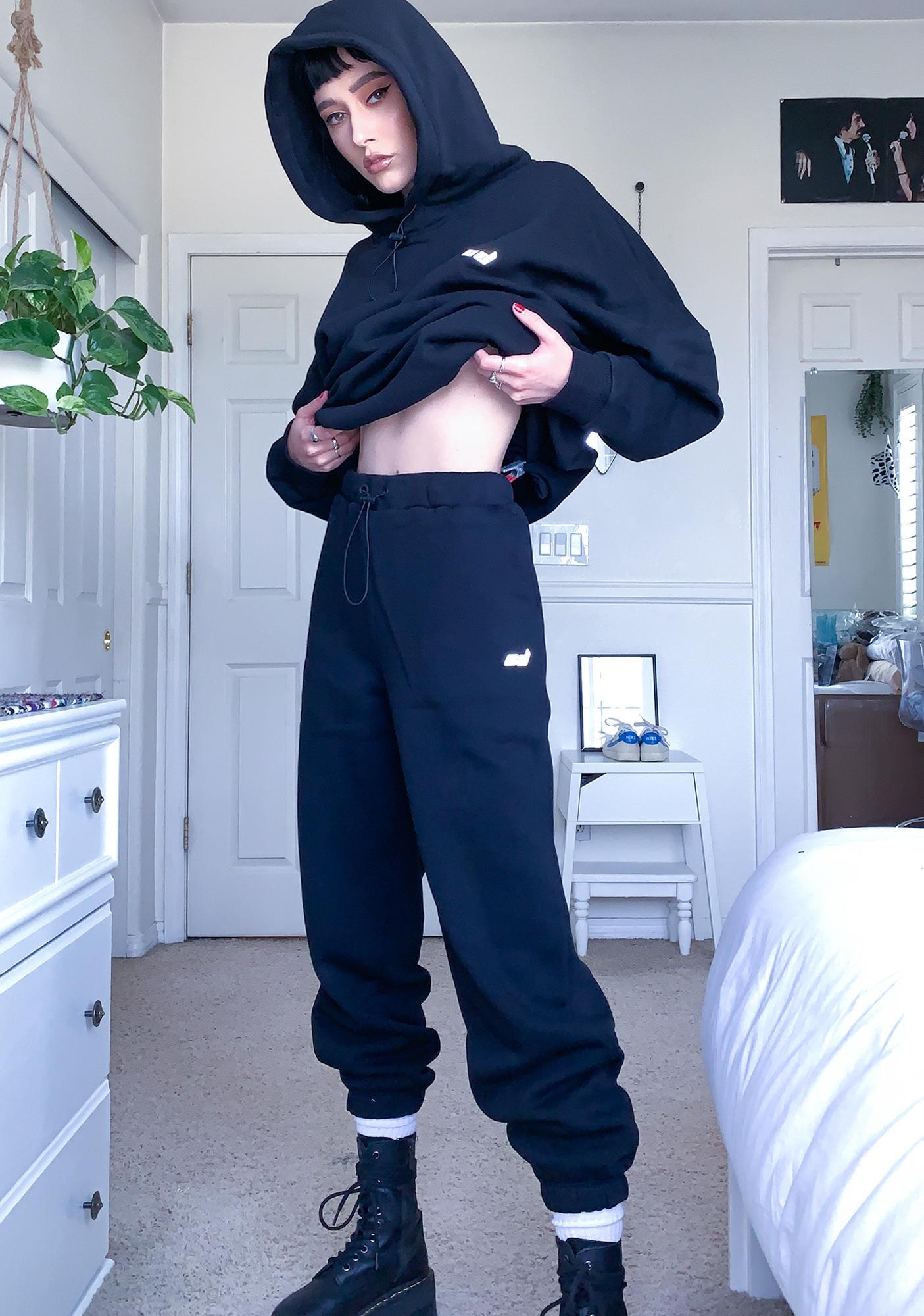 Criminal Damage Black Toggle Sweatpants