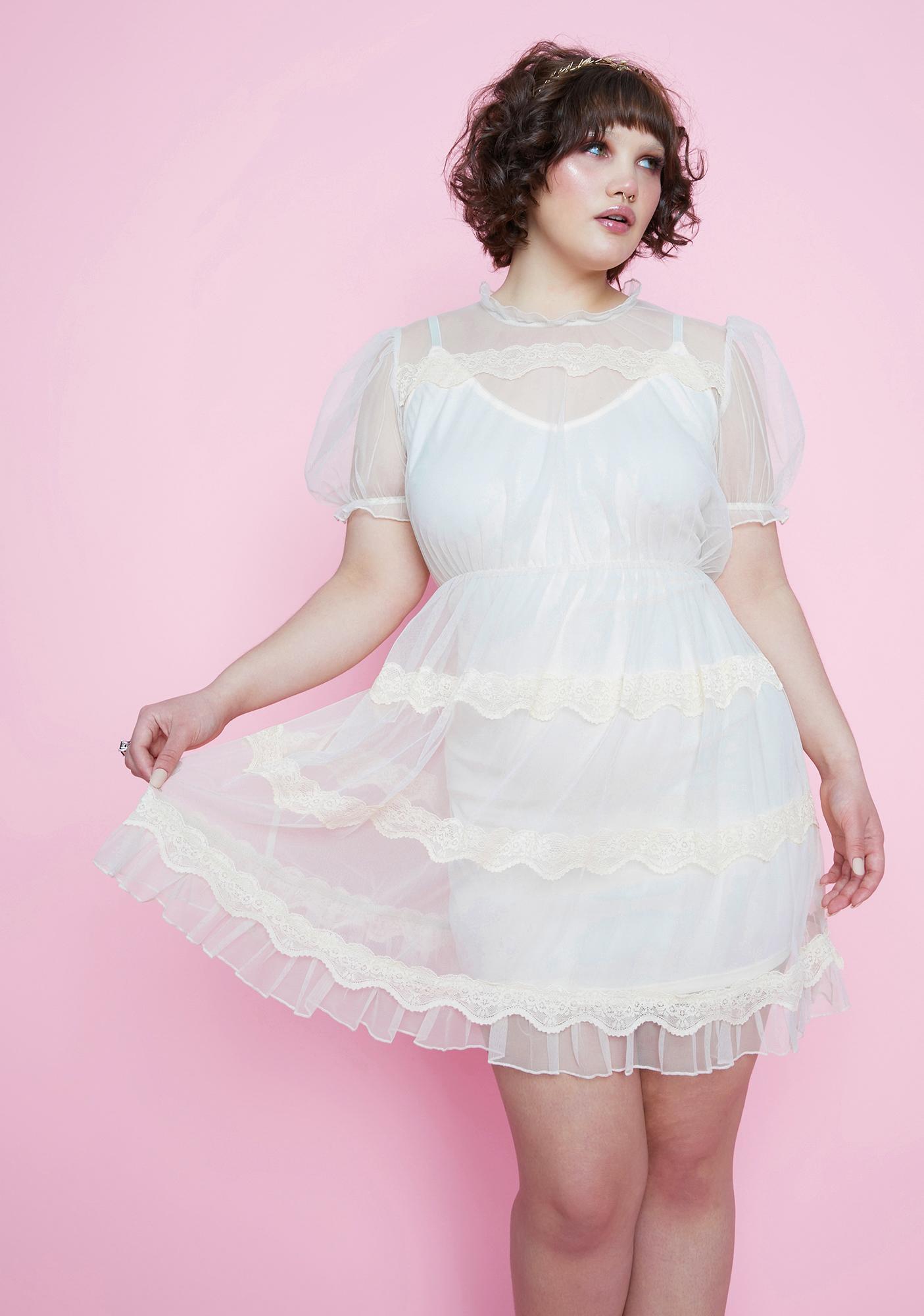Sugar Thrillz My Dream Meadow Sheer Babydoll Dress