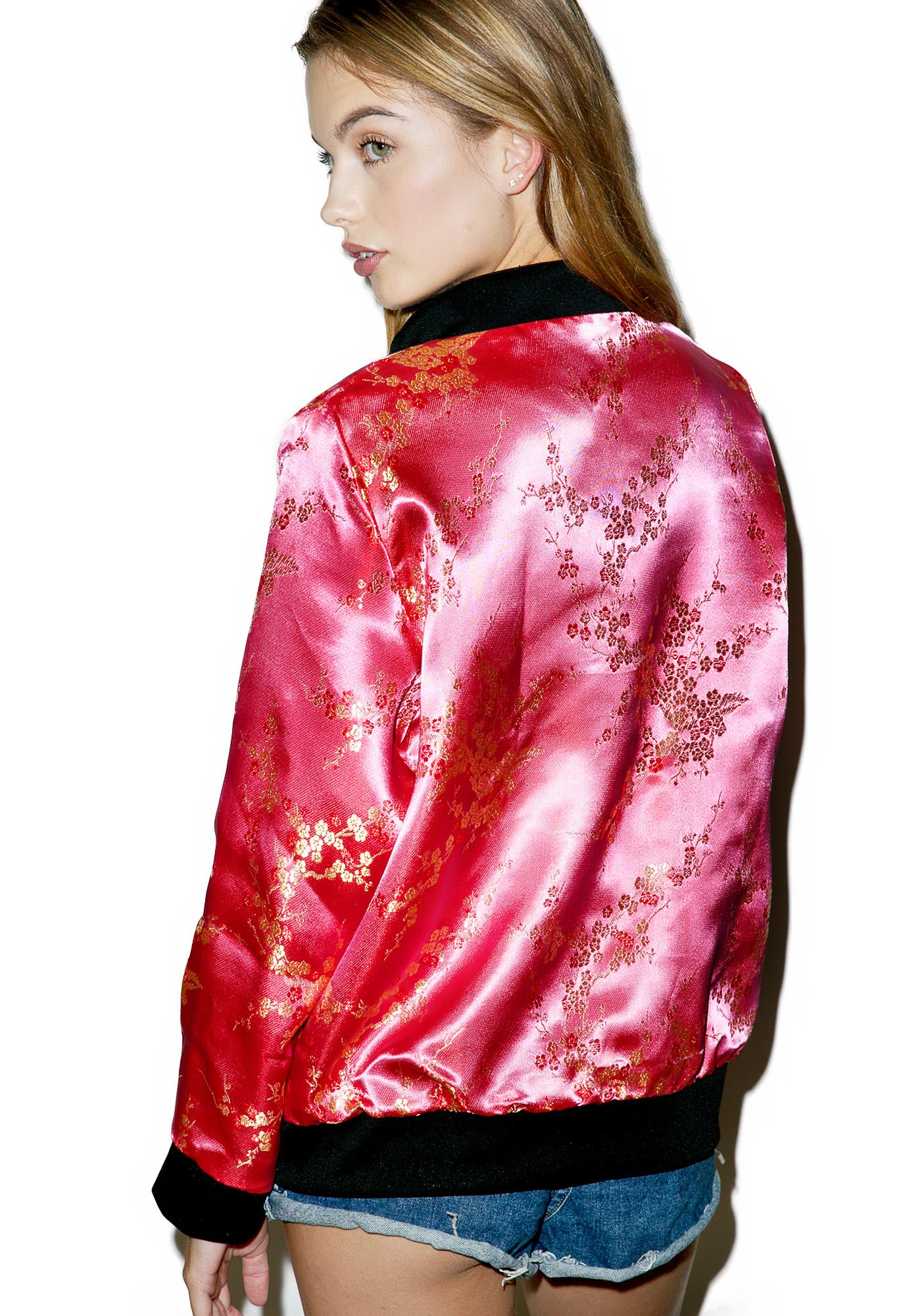 O Mighty Cherry Blossom Bomber Jacket