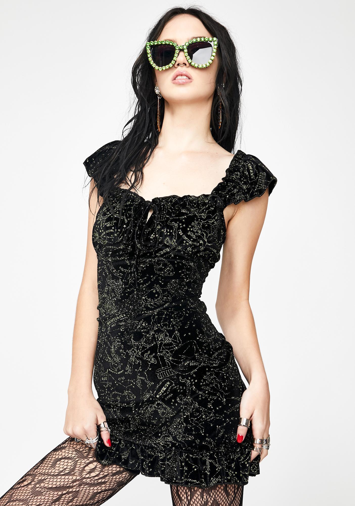 NEW GIRL ORDER Velvet Glitter Constellation Dress