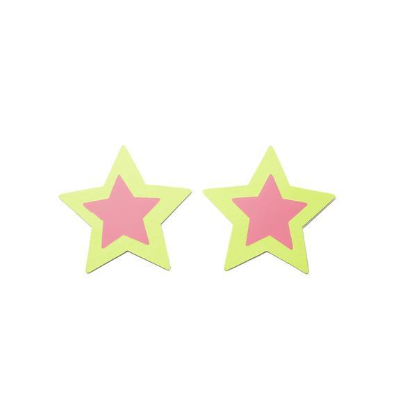 Neva Nude Neon Black Light Star Pasties